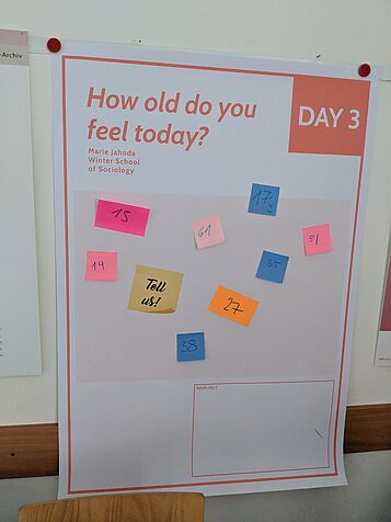 "Marie Jahoda Winter School of Sociology, November 1-3, 2018. Plakat mit der Frage ""How old do you feel today"""